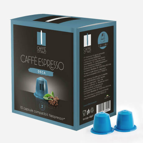 Decaffeinated (koffeinmentes) Nespresso kompatibilis kávé kapszula Caffé Ottavo